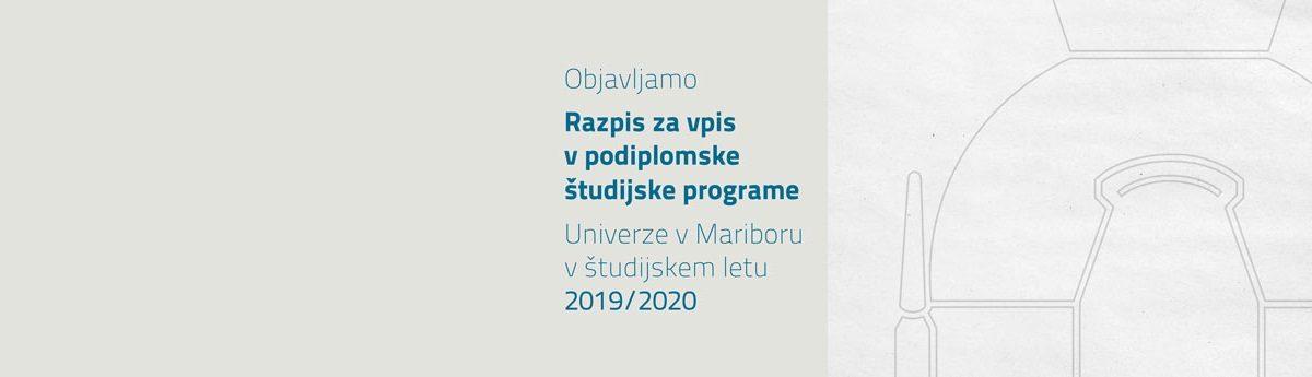 Razpis za vpis v podiplomske študijske programe za leto 2019/2020